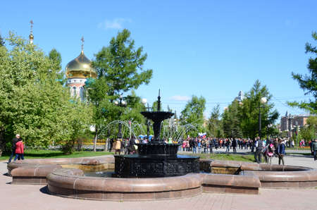 Omsk, Russia - May 9: Pervomaisky Square in spring, the city of Omsk, Siberia, Russia