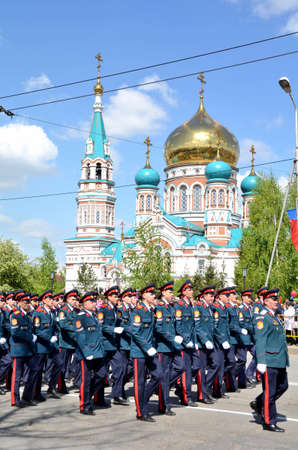 Omsk, Russia - May 9: Military parade dedicated to Victory Day, the city of Omsk, Siberia, Russia 9 May 2016 Redakční