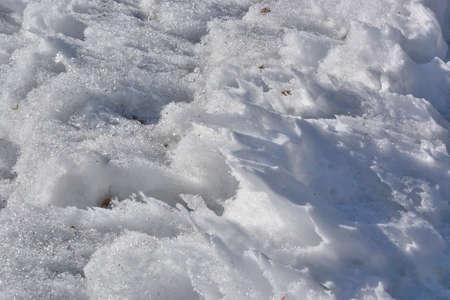 Spreeng Siberian city park in snowdrifts, Omsk region Russia