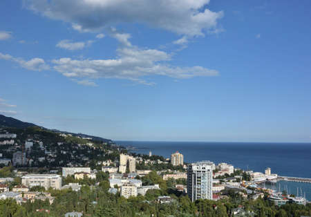 YALTA, CRIMEA SEPTEMBER 6, 2017: View of the city of Yalta from the cable car cabin