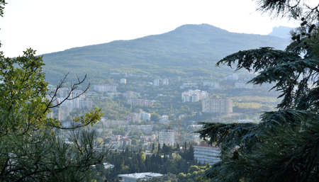 View of the city of Yalta from the cable car cabin Reklamní fotografie