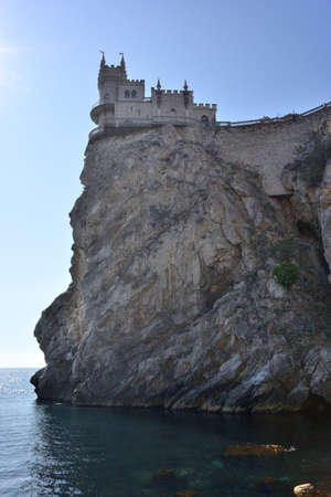 The famous castle Swallows Nest on the rock in the Black Sea in Crimea