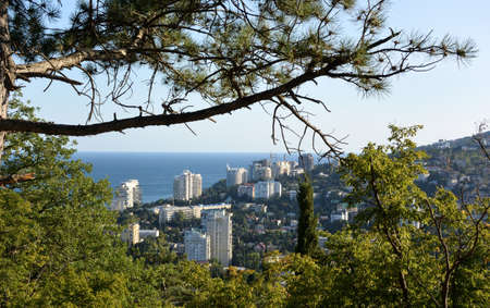 View of the city of Yalta from the cable car cabin 写真素材