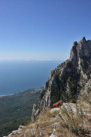 View of Mount Ai-Petri in the vicinity of Yalta from the cabin of the cable car