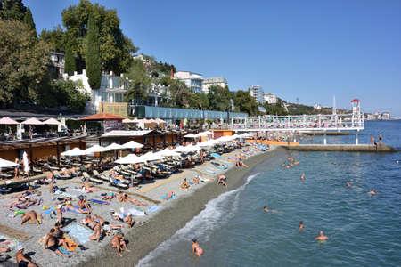 YALTA, CRIMEA - SEPTEMBER 8, 2017: Massandra beach of Yalta