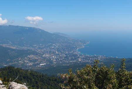 View from Mount Ai-Petri on the Black Sea coast. Yalta, Crimea