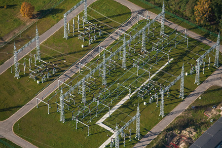 Electric substation, top view. Aerial landscape.