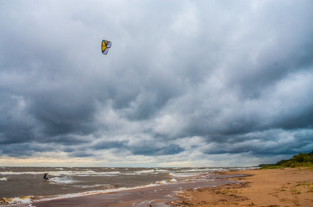 Kite surfing. The wind is the sea and waves. Nature landscape. Stock Photo