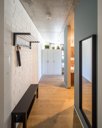 Entrance hall and entrance door to studio apartments. Entrance hall and corridor in a modern apartment.