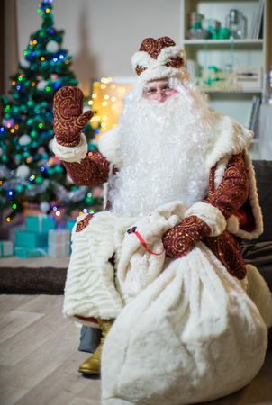 Portrait of Santa Claus in a red suit on the background of the Christmas tree. Brings gifts. Stockfoto
