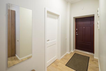 Drzwi wejściowe w nowoczesnym wnętrzu z jasnymi ścianami.