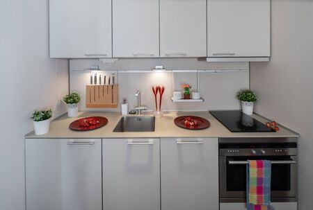White kitchen with sink and oven. Knives on the wooden stand. Banco de Imagens