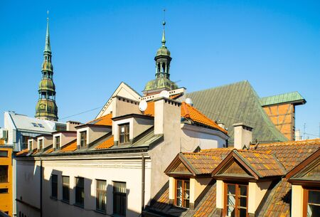 View on the roofs in Riga. Historical centre of the city.