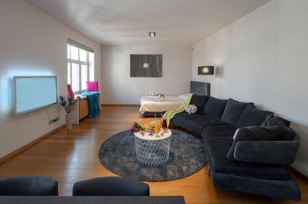 Studio apartment with furniture and tv. Banco de Imagens