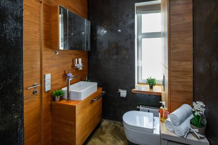 View on the toilet and the sink in modern interior of bathroom Banco de Imagens - 128816287
