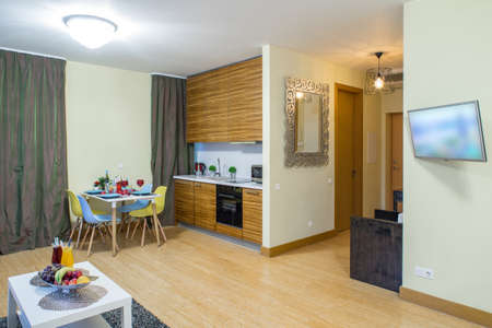 Light spacious studio apartment. Furniture and tv. Table with food.