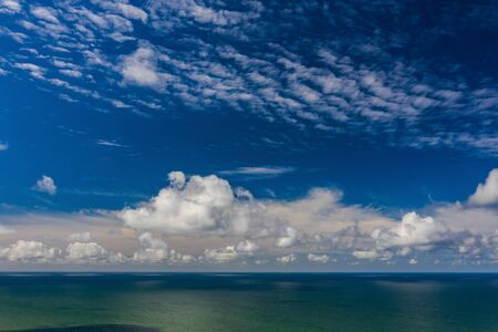 Beautiful view of the sea. Cloudy day. Blue sky.