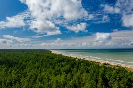 View from above on the sea and forest. Empty seaside. Banco de Imagens - 129015100