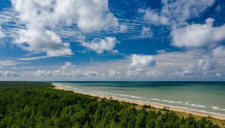 View from above on the sea and forest. Empty seaside. Banco de Imagens - 129015122
