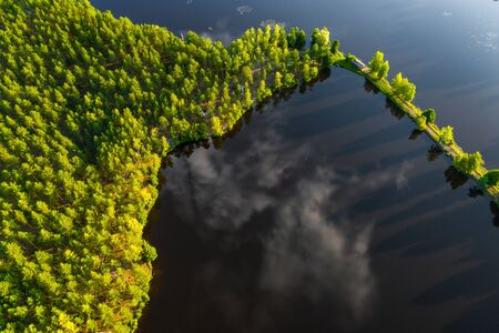 View from above. Green forest. Road through the lake. Reklamní fotografie