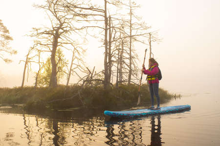 Atmospheric landscape. Fog over swamp. Sup-boarding. Banco de Imagens