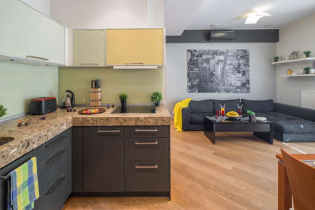 Modern interior of studio apartment with furniture. Living room. Kitchen set. Imagens