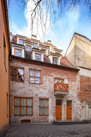 Old and modern european architecture in Old town in Riga, Latvia. Tourism in Europe.