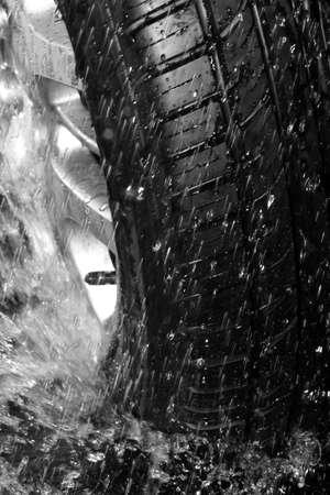 Close up wet tire photo