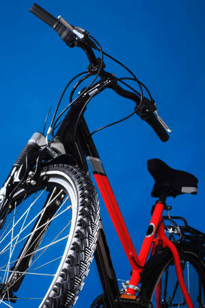exhilaration: Mountain bicycle on a dark blue background