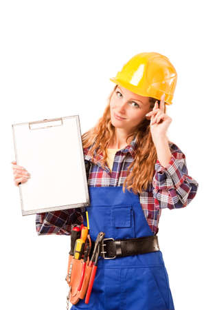 female construction worker: female construction worker isolated on white background
