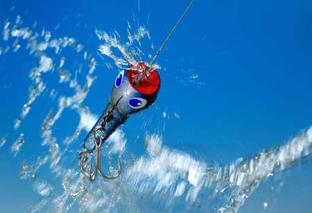 decoy: fishing bait  on blue background
