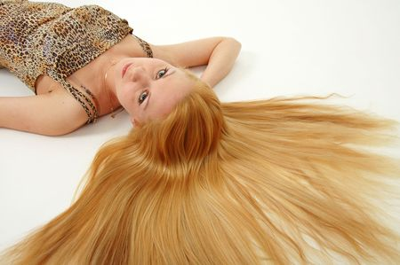 Pretty woman with long blonde hair Stock Photo - 3047655