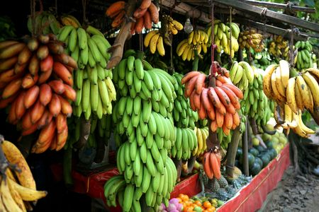 Many sort bananas in fruir bazar