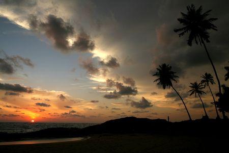 Sri lanka beach at sunset time Stock Photo - 3105260