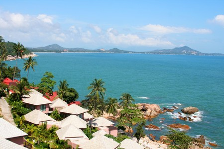 high view of tropical island coastline with homes and trees Stock Photo - 4450146