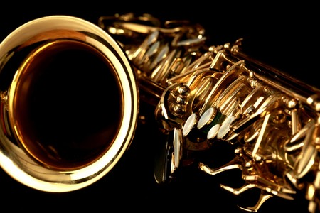 close up gold alto saxophone on black background Stock Photo - 4537749