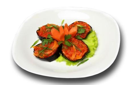 restaurant food on plate on white