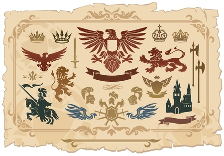 caballero medieval: Heráldico conjunto de leones, águilas, coronas y escudos dibujos Vectores