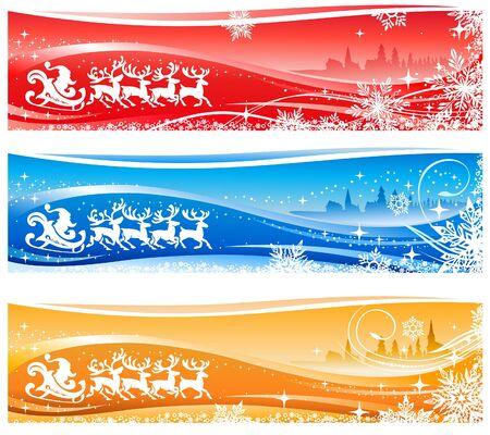 Santa Sleigh Christmas Backgrounds Vector