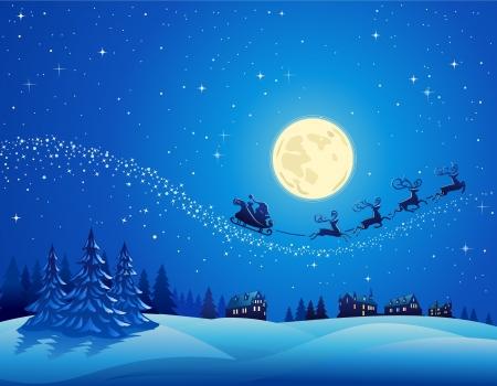papa noel en trineo: Santa llega la noche de invierno de Navidad