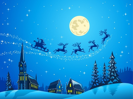 into: Santa Into the Winter Christmas Night Illustration