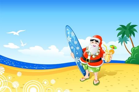 ビーチでクリスマス サンタ  イラスト・ベクター素材