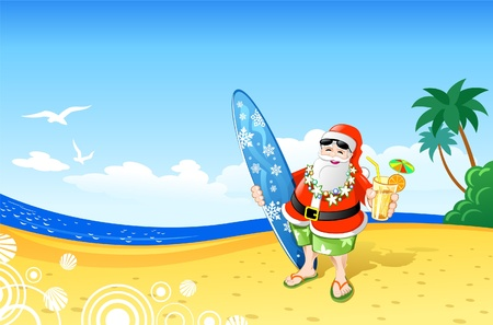 Christmas Santa on the Beach Vector