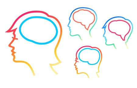 Human heads silhouettes with brain highlighten Vector