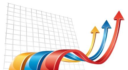 verhogen: Pijlen 3D bewegen naar boven Stock Illustratie
