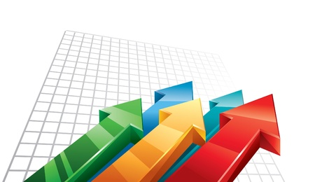 sales graph: Arrows 3D moving upwards Illustration
