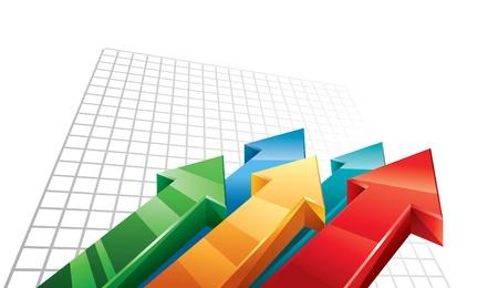 grafico vendite: Frecce 3D in movimento verso l'alto