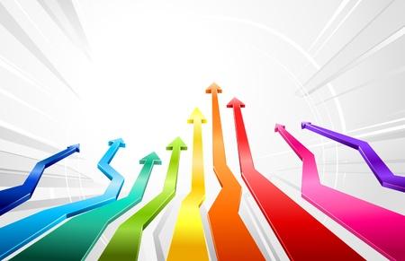financial leadership: Flechas en 3D movi�ndose hacia arriba