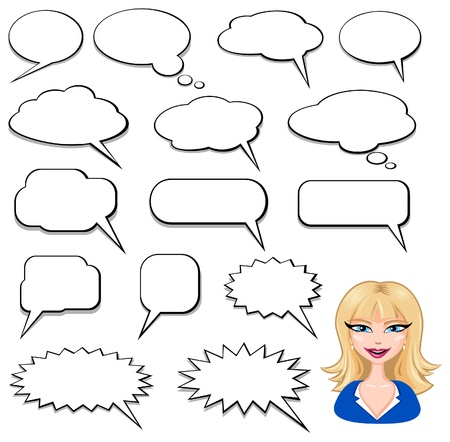 thinking bubble: Speech Bubbles y avatar chica Vectores