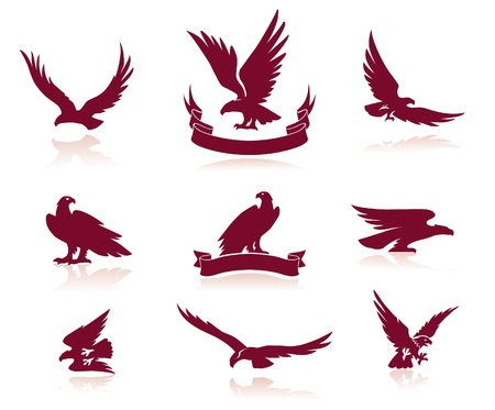 eagle flying: Eagle Silhouettes Set